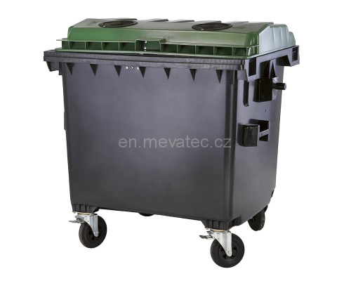 Eurocontainer Din Material Plastic 1100 L Cu Capac Plat Culoare Verde Fara Inchizatoare - Colectare Sticla Mevatec - Transport Inclus sanito.ro