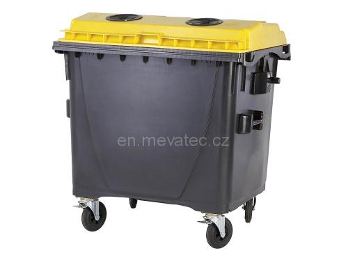 Eurocontainer Din Material Plastic 1100 L Cu Capac Plat Culoare Galbena Fara Inchizatoare - Colectare Materiale Plastice Mevatec - Transport Inclus 2021 sanito.ro