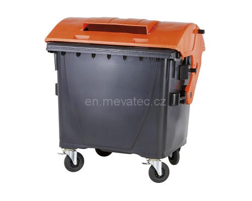 Eurocontainer Din Material Plastic 1100 L Cu Capac Rotund Cu Inchizatoare Pentru Capac - Colectare Ambalaje Mevatec - Transport Inclus sanito.ro