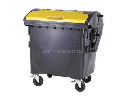 Eurocontainer Din Material Plastic 1100 L Negru Capac In Capac Galben Mevatec - Transport Inclus 2021 sanito.ro