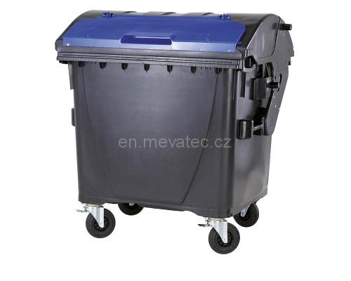 Eurocontainer Din Material Plastic 1100 L Negru Capac In Capac Albastru Mevatec - Transport Inclus 2021 sanito.ro
