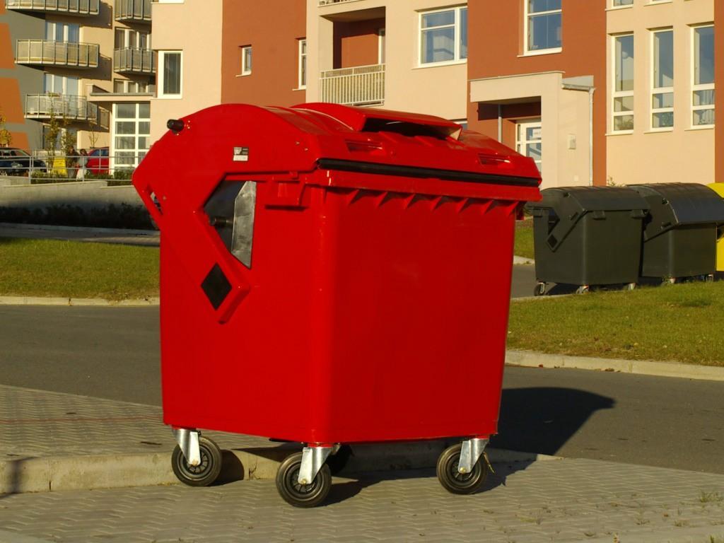 Container Hdpe Cle 1100l Cu Capac Rotund Rosu 2021 sanito.ro
