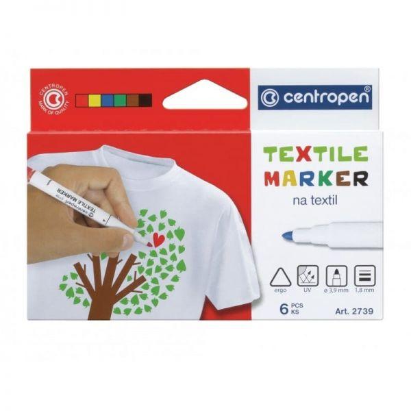 Marker Centropen 2739 Textil - Varf Rotund 6 Culori/Set sanito.ro