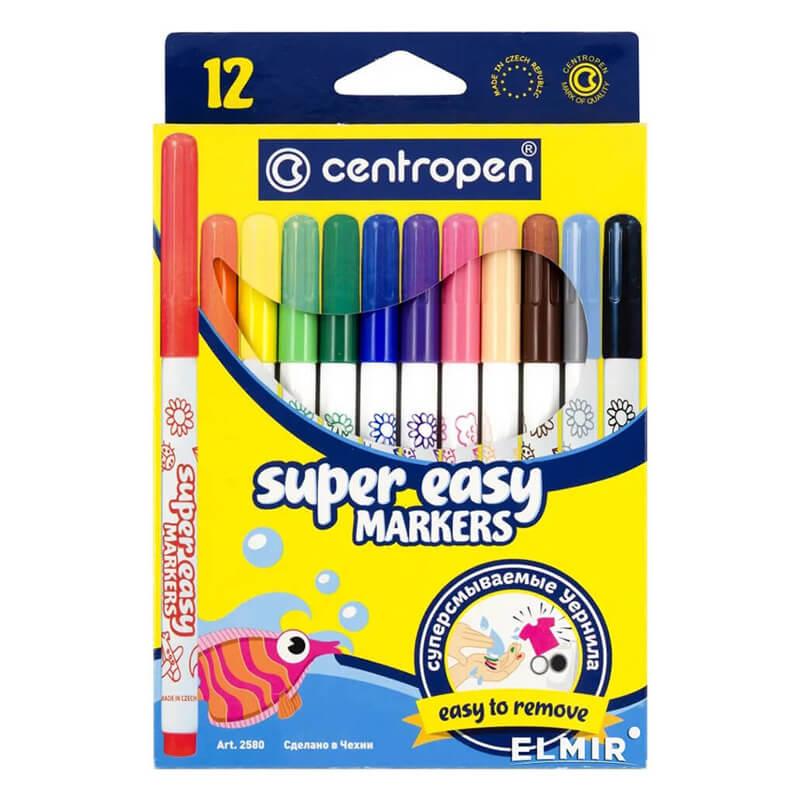 Carioca Centropen 2580 Super Easy - 12 Culori/Set 2021 sanito.ro