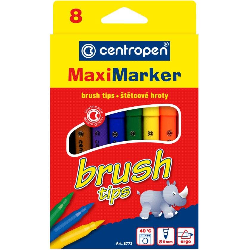 Marker Centropen 8773 Brush - 8 Culori/Set 2021 sanito.ro