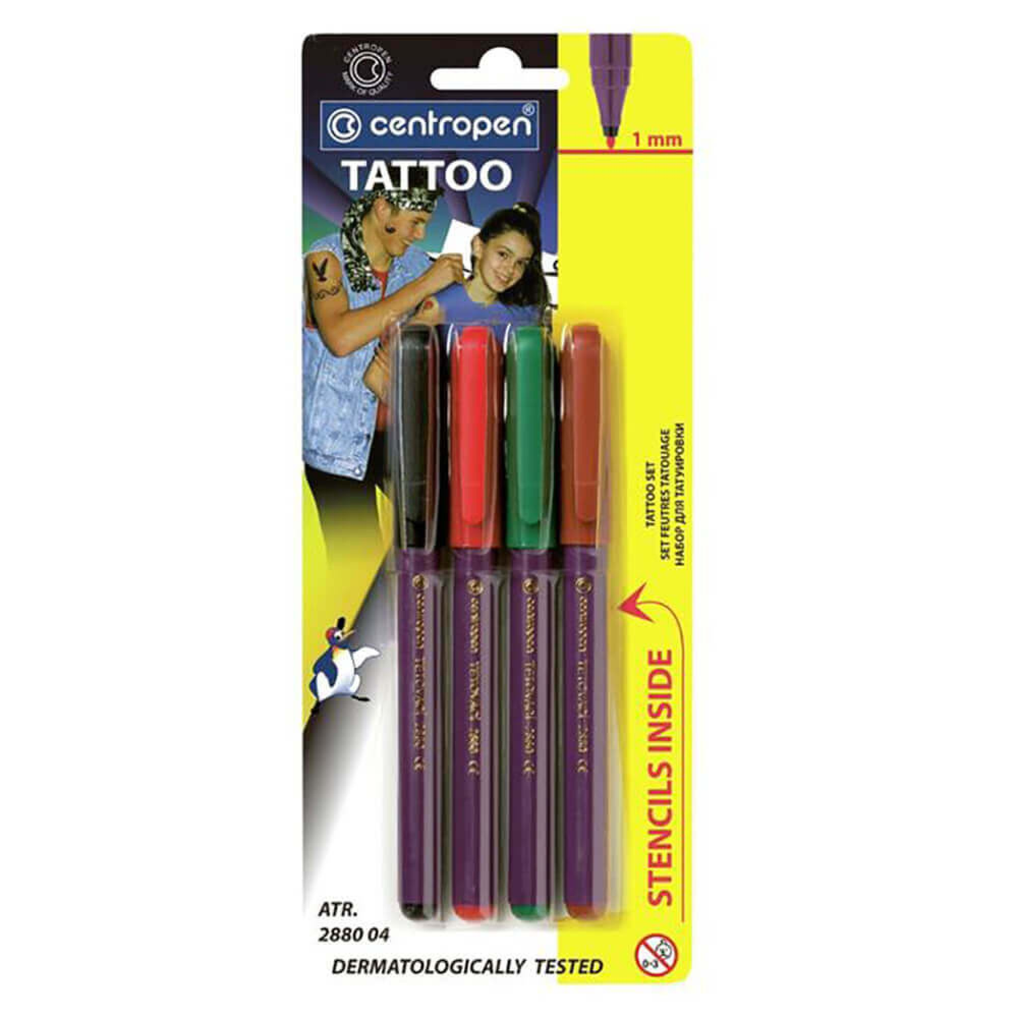 Marker Centropen 2880 Tattoo - 4 Culori/Set 2021 sanito.ro