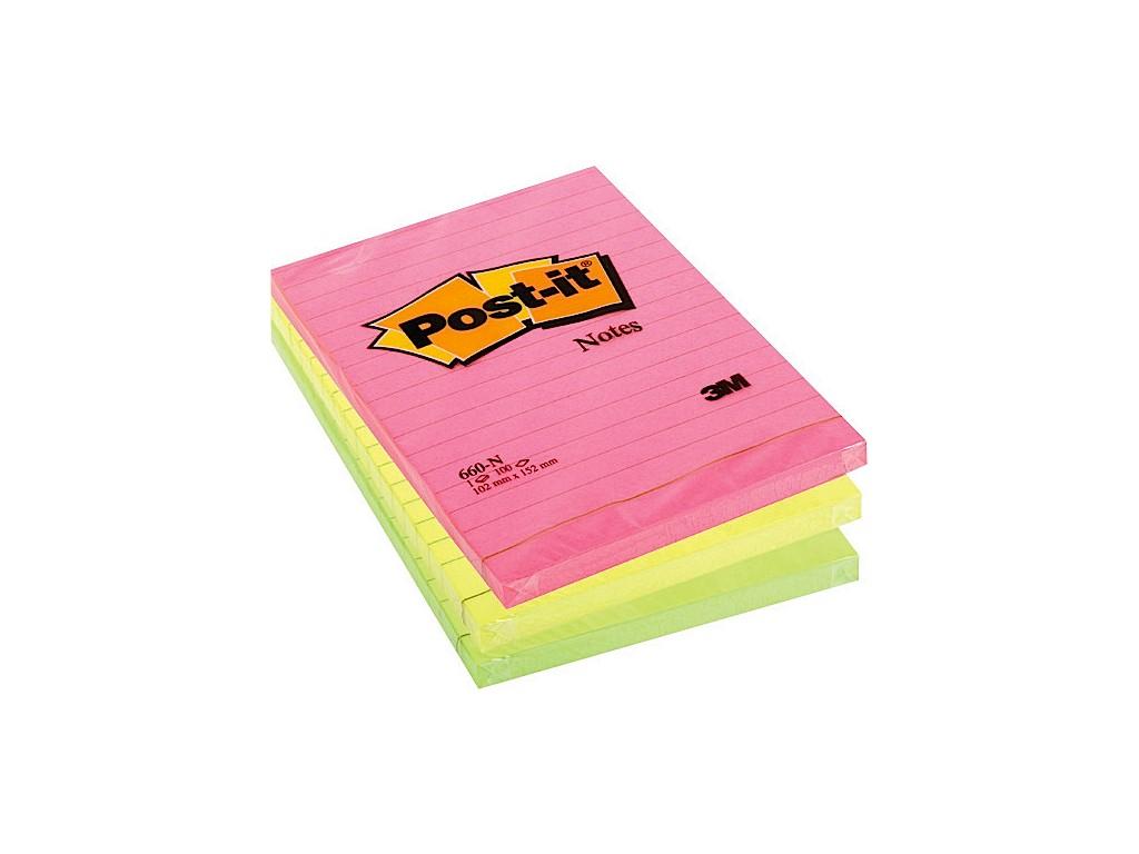 Notes Adeziv Post-It® Neon Liniat 2021 sanito.ro