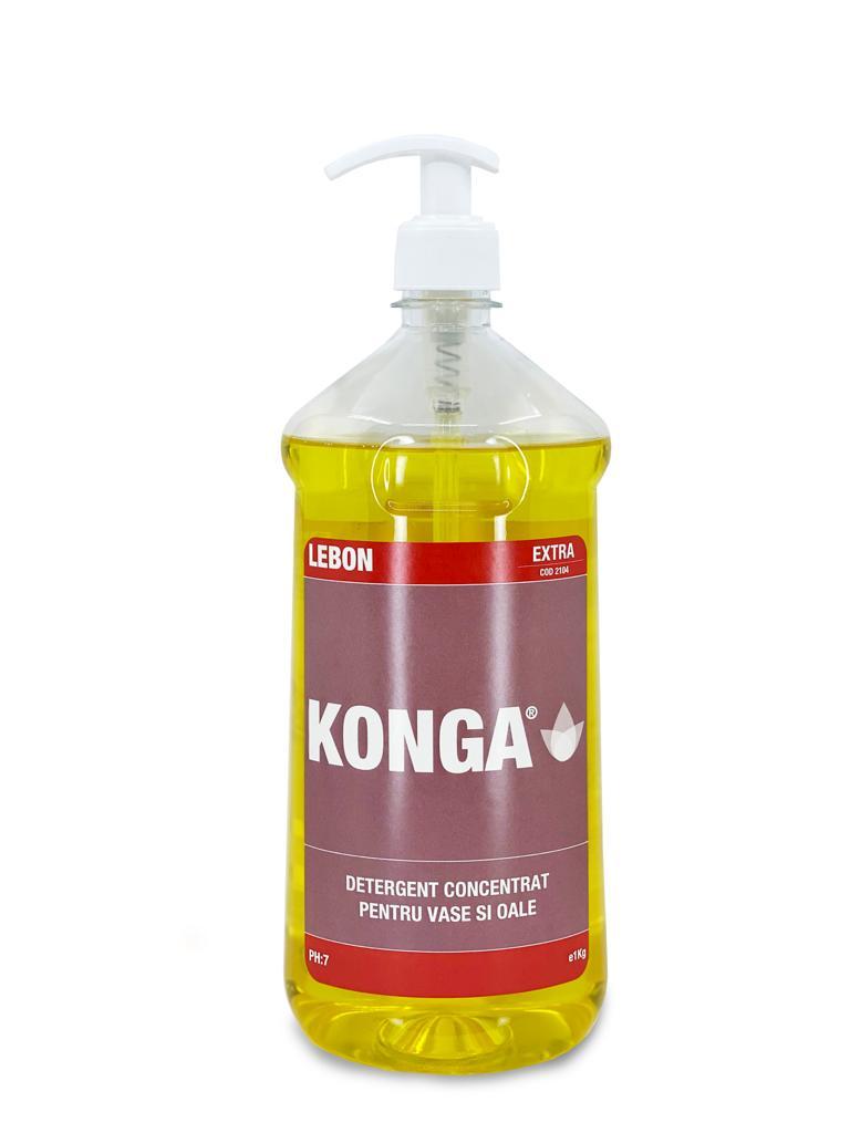 Detergent Pentru Vase Si Oale Konga 2104 - Extra 1l Cu Pompita 2021 sanito.ro