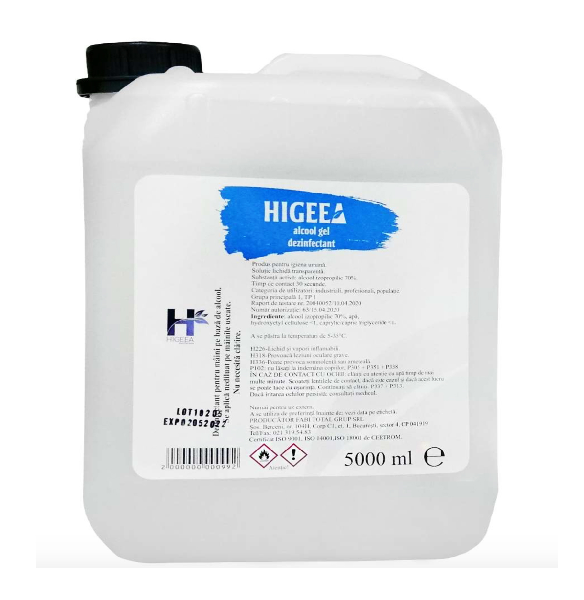 Higeea Alcool Gel 5l Dezinfectant Maini Virucid sanito.ro