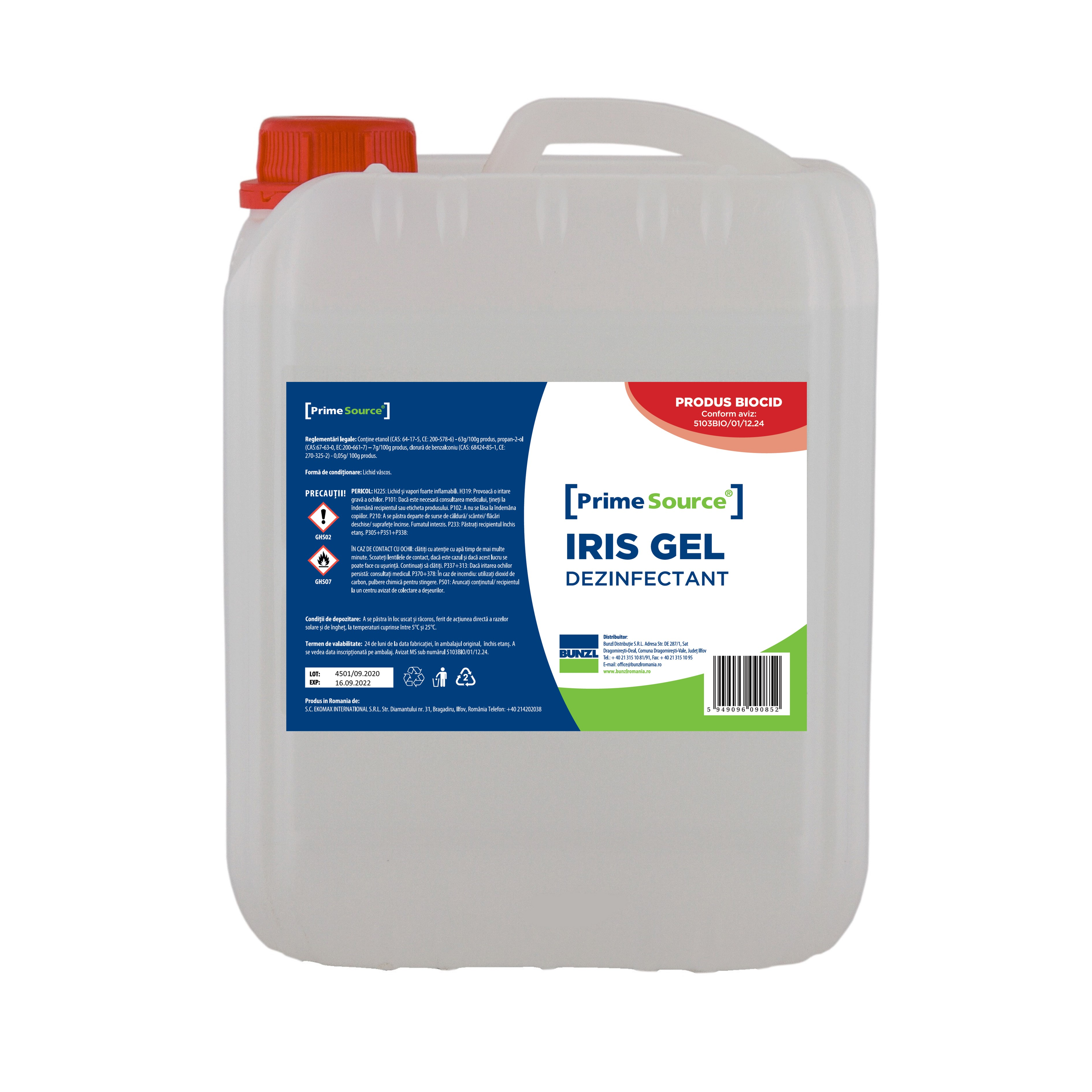 Gel Dezinfectant De Maini Biocid Avizat Ms Iris 5l sanito.ro